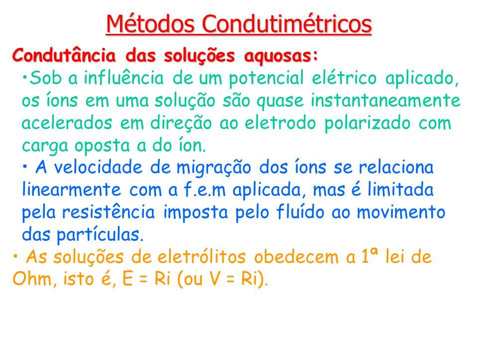 Condutância das soluções aquosas: Sob a influência de um potencial elétrico aplicado, os íons em uma solução são quase instantaneamente acelerados em