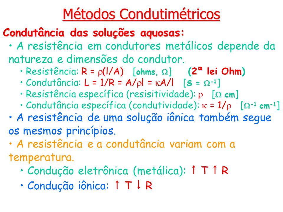 Métodos Condutimétricos Condutância das soluções aquosas: A resistência em condutores metálicos depende da natureza e dimensões do condutor. ohms, Res
