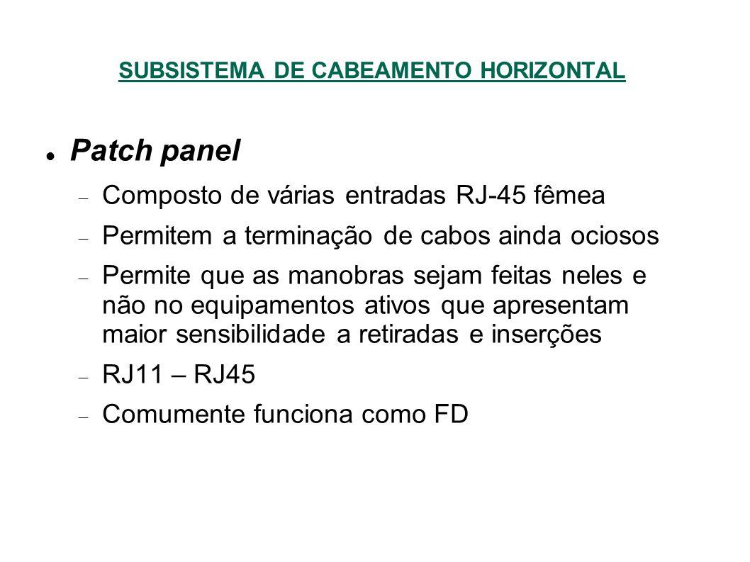 SUBSISTEMA DE CABEAMENTO HORIZONTAL Patch panel Composto de várias entradas RJ-45 fêmea Permitem a terminação de cabos ainda ociosos Permite que as manobras sejam feitas neles e não no equipamentos ativos que apresentam maior sensibilidade a retiradas e inserções RJ11 – RJ45 Comumente funciona como FD
