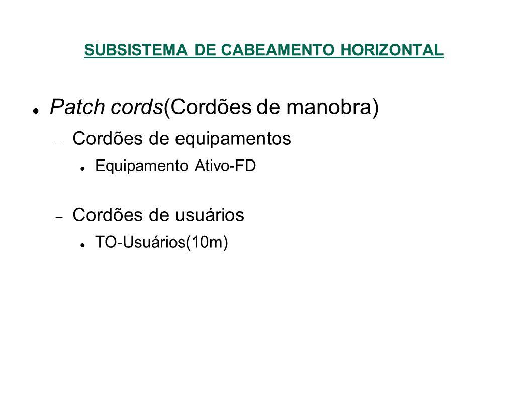 SUBSISTEMA DE CABEAMENTO HORIZONTAL Patch cords(Cordões de manobra) Cordões de equipamentos Equipamento Ativo-FD Cordões de usuários TO-Usuários(10m)