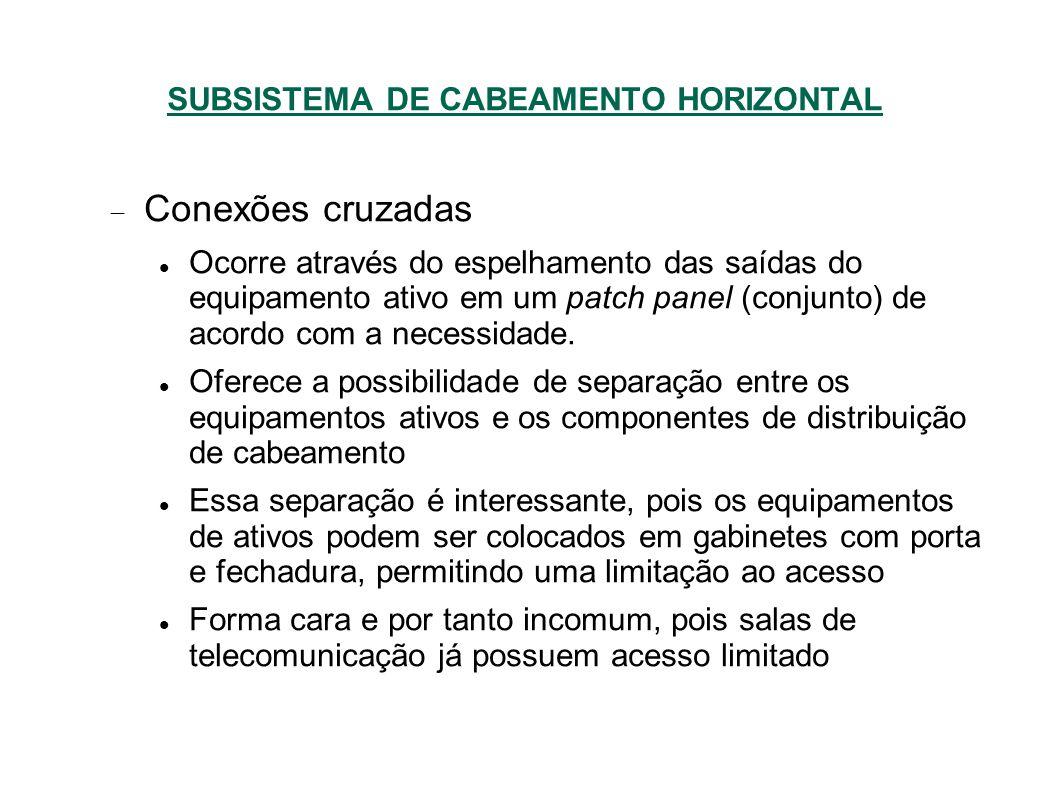SUBSISTEMA DE CABEAMENTO HORIZONTAL Conexões cruzadas Ocorre através do espelhamento das saídas do equipamento ativo em um patch panel (conjunto) de acordo com a necessidade.