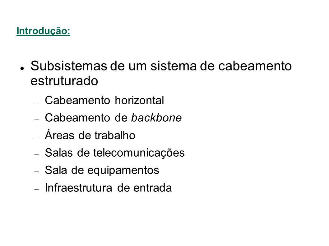 Subsistemas de um sistema de cabeamento estruturado Cabeamento horizontal Cabeamento de backbone Áreas de trabalho Salas de telecomunicações Sala de equipamentos Infraestrutura de entrada