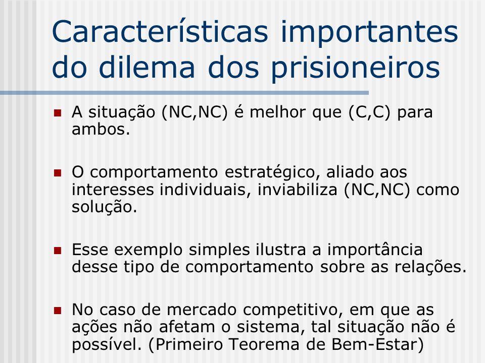 Resolvendo o dilema dos prisioneiros NC é estritamente dominada por C, para ambos. 2 1 NCC -1,-1-9,0 C0,-9-6,-6