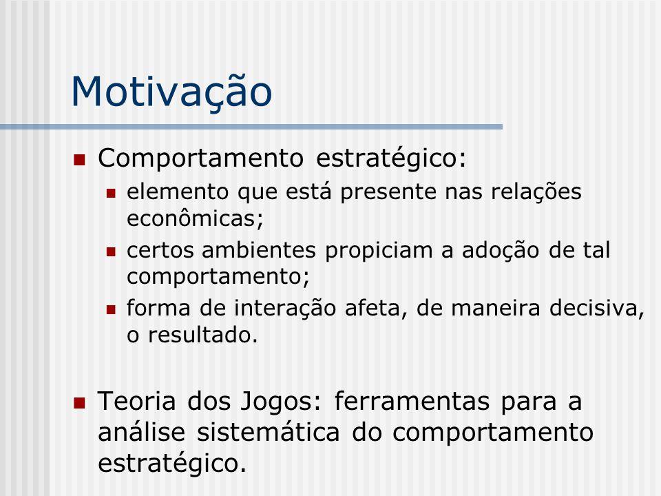Motivação Comportamento estratégico: elemento que está presente nas relações econômicas; certos ambientes propiciam a adoção de tal comportamento; forma de interação afeta, de maneira decisiva, o resultado.