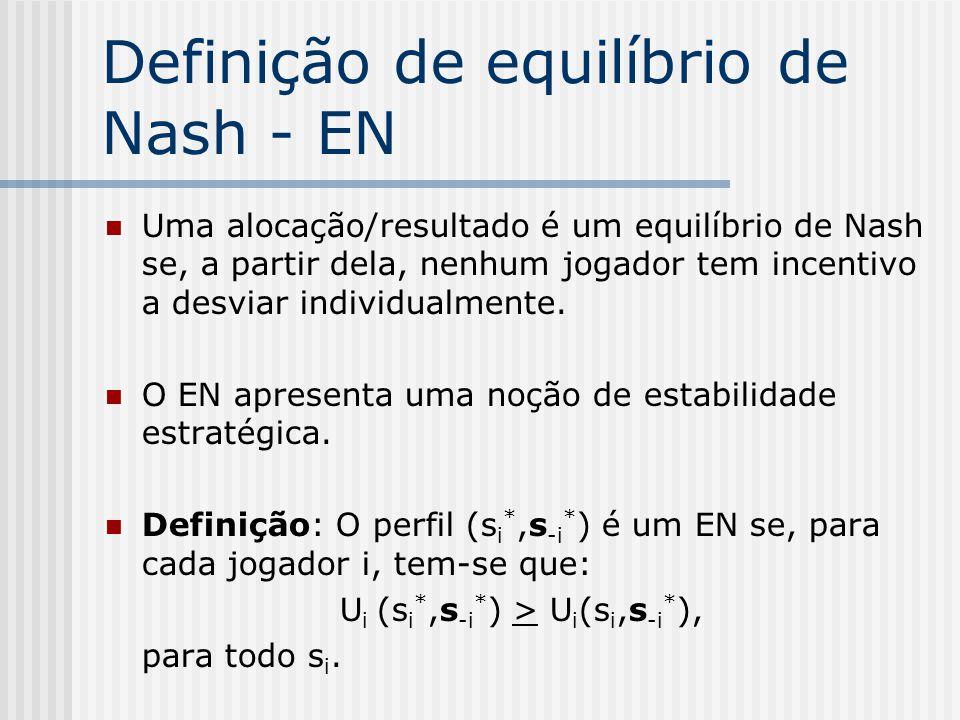 Resolvendo jogos (ii) Equilíbrio de Nash (estratégias puras)