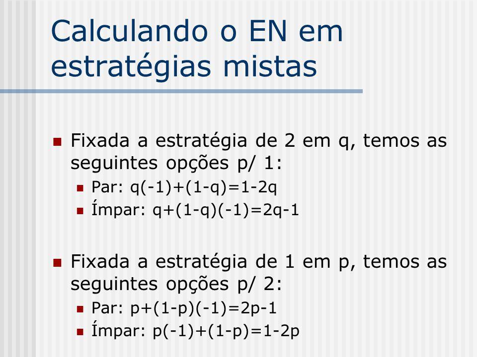 Exemplo Par ou Ímpar 2 1 ParÍmpar Par-1,11,-1 Ímpar1,-1-1,1 p 1-p q1-q
