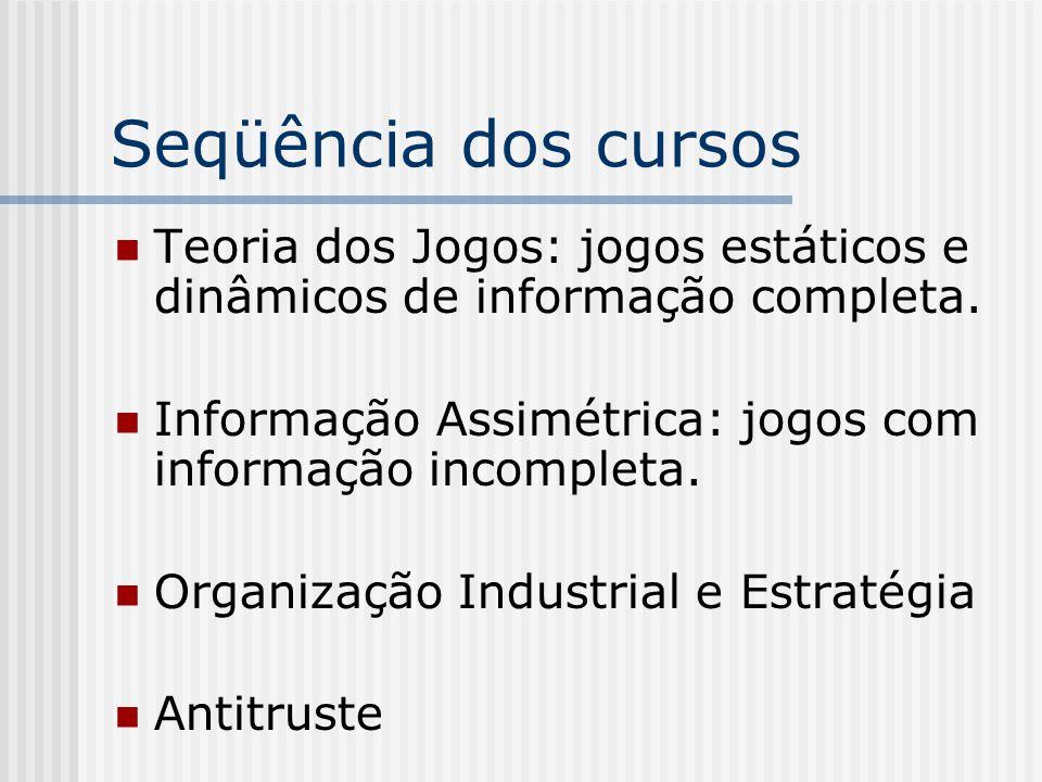 Seqüência dos cursos Teoria dos Jogos: jogos estáticos e dinâmicos de informação completa.