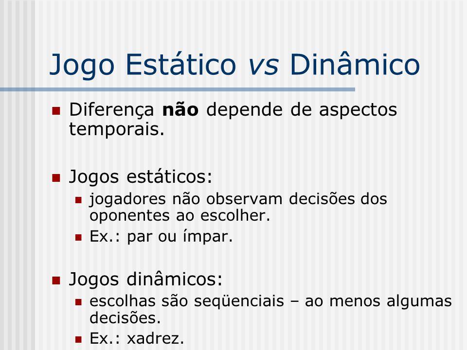 Jogo Estático vs Dinâmico Diferença não depende de aspectos temporais.