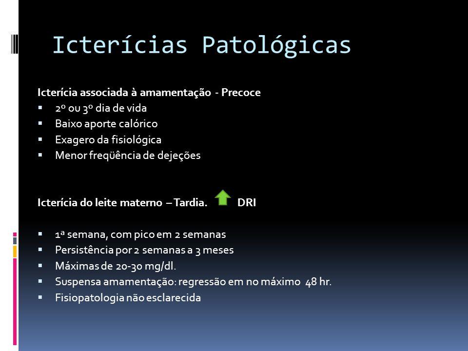 Icterícias Patológicas Icterícia associada à amamentação - Precoce 2º ou 3º dia de vida Baixo aporte calórico Exagero da fisiológica Menor freqüência