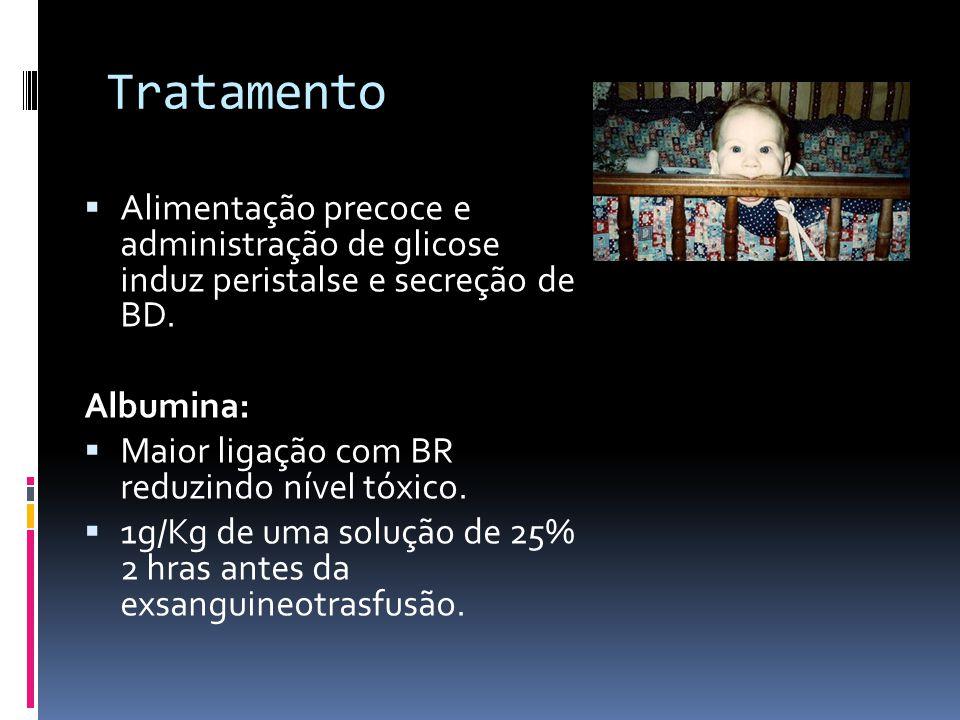 Tratamento Alimentação precoce e administração de glicose induz peristalse e secreção de BD. Albumina: Maior ligação com BR reduzindo nível tóxico. 1g