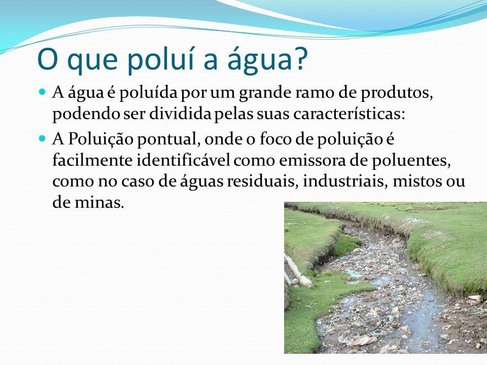 O que poluí a água? A água é poluída por um grande ramo de produtos, podendo ser dividida pelas suas características: A Poluição pontual, onde o foco