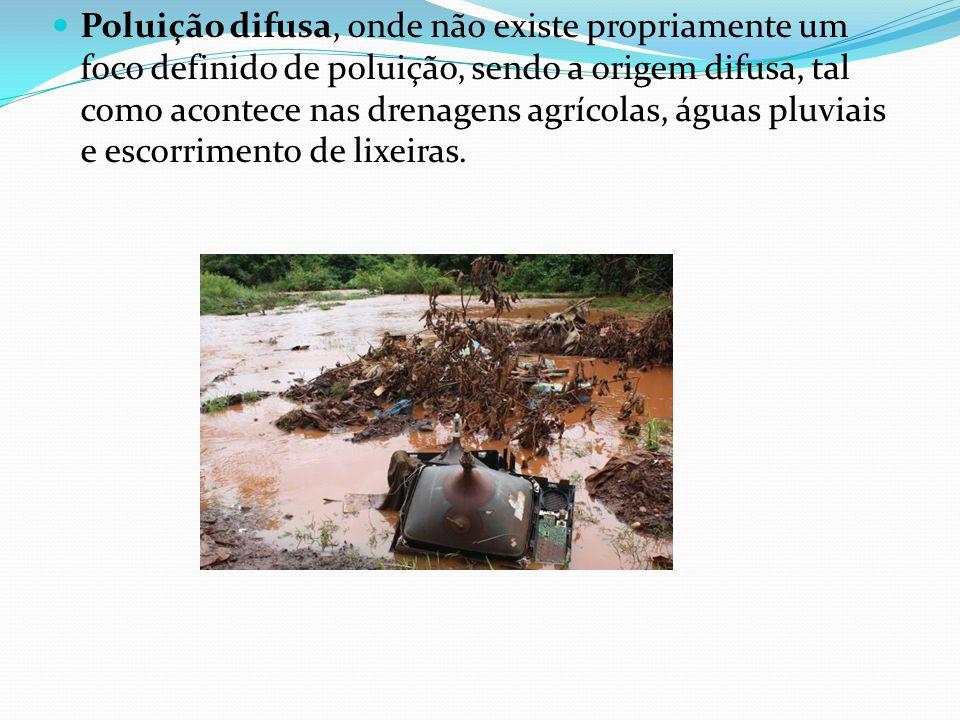 Poluição difusa, onde não existe propriamente um foco definido de poluição, sendo a origem difusa, tal como acontece nas drenagens agrícolas, águas pl