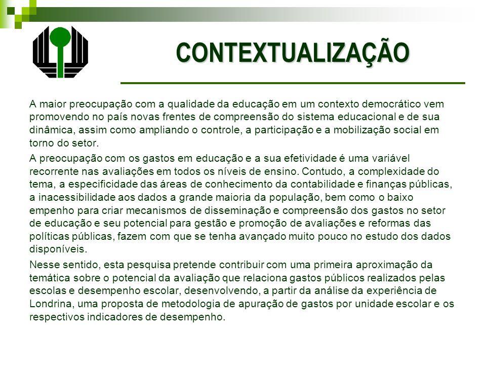 Geral Desenvolver uma metodologia de apuração de custos de unidades escolares para fins de produção de indicadores de gestão de Escolas de Ensino Fundamental (de 1º ao 4º ano), tomando como estudo de caso o município de Londrina.