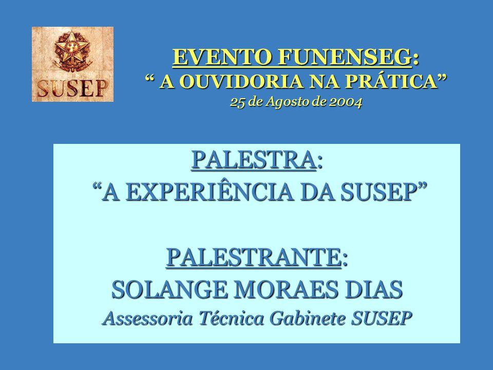 EVENTO FUNENSEG: A OUVIDORIA NA PRÁTICA 25 de Agosto de 2004 PALESTRA: A EXPERIÊNCIA DA SUSEP A EXPERIÊNCIA DA SUSEP PALESTRANTE: SOLANGE MORAES DIAS Assessoria Técnica Gabinete SUSEP