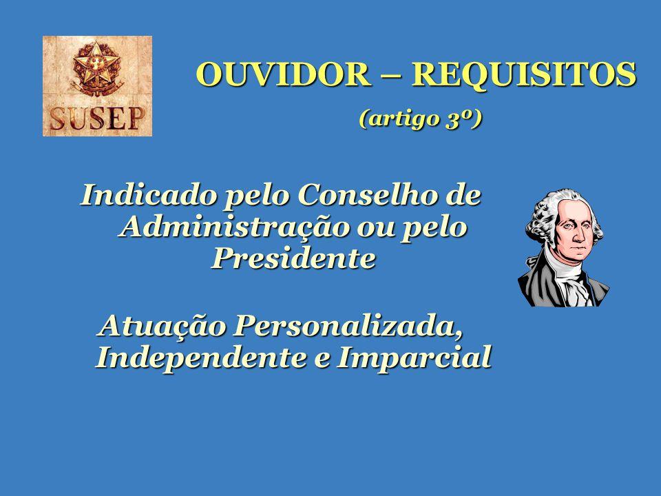 OUVIDOR – REQUISITOS (artigo 3º) Indicado pelo Conselho de Administração ou pelo Presidente Atuação Personalizada, Independente e Imparcial