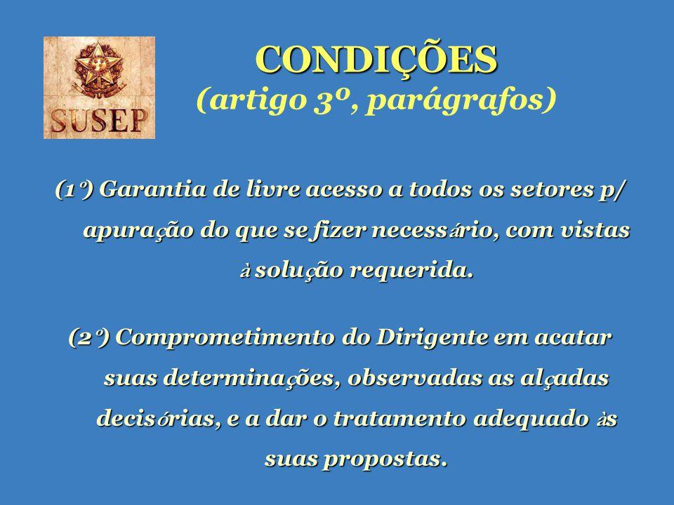 CONDIÇÕES CONDIÇÕES (artigo 3º, parágrafos) (1 º ) Garantia de livre acesso a todos os setores p/ apura ç ão do que se fizer necess á rio, com vistas à solu ç ão requerida.