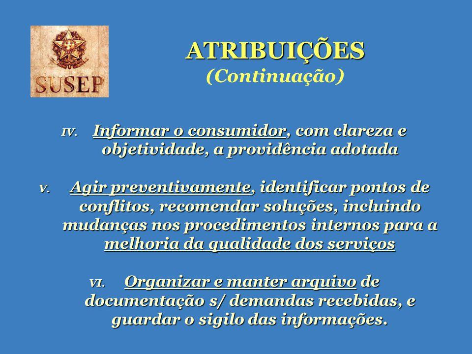 ATRIBUIÇÕES ATRIBUIÇÕES (Continuação) IV.