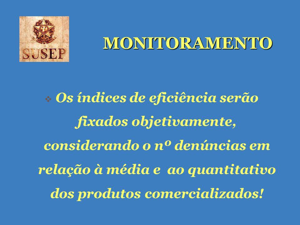 MONITORAMENTO Os índices de eficiência serão fixados objetivamente, considerando o nº denúncias em relação à média e ao quantitativo dos produtos comercializados!