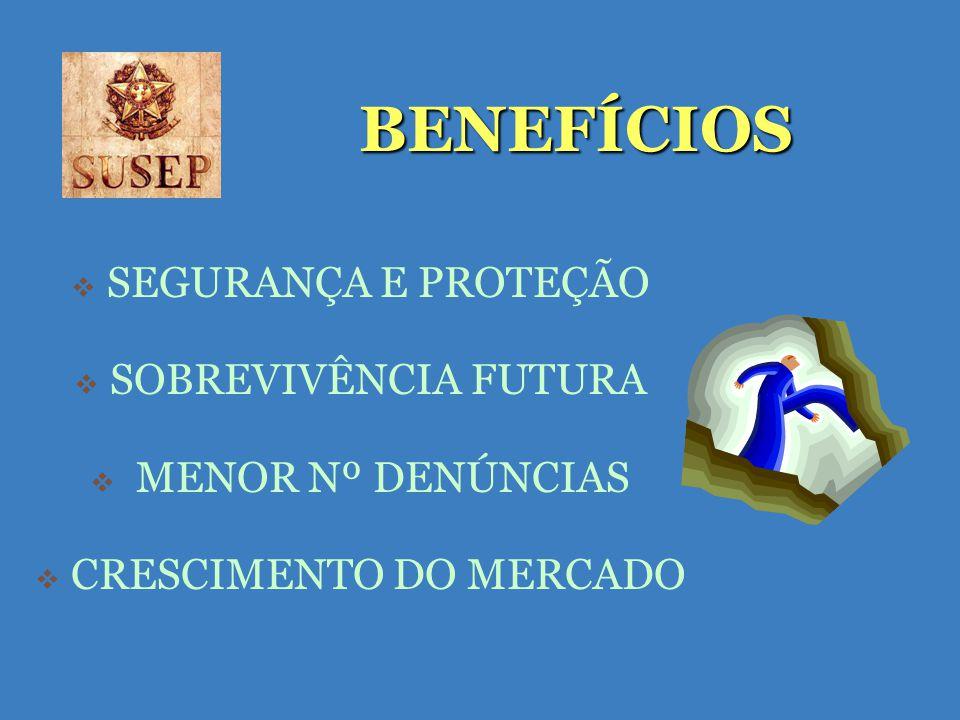 BENEFÍCIOS SEGURANÇA E PROTEÇÃO SOBREVIVÊNCIA FUTURA MENOR Nº DENÚNCIAS CRESCIMENTO DO MERCADO