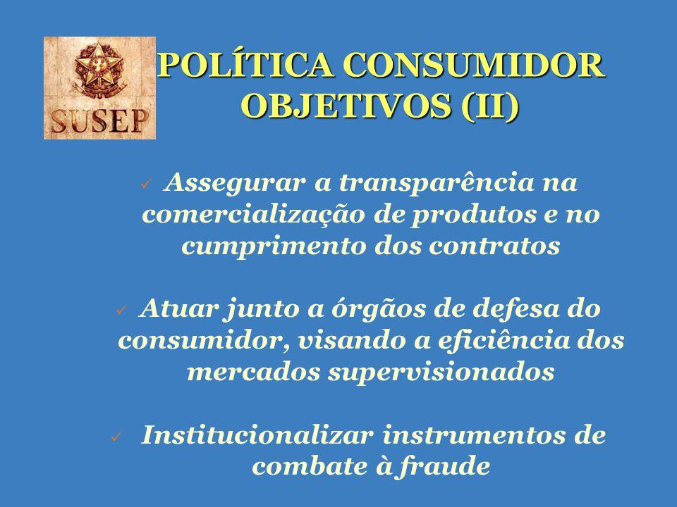 POLÍTICA CONSUMIDOR OBJETIVOS (II) Assegurar a transparência na comercialização de produtos e no cumprimento dos contratos Atuar junto a órgãos de defesa do consumidor, visando a eficiência dos mercados supervisionados Institucionalizar instrumentos de combate à fraude