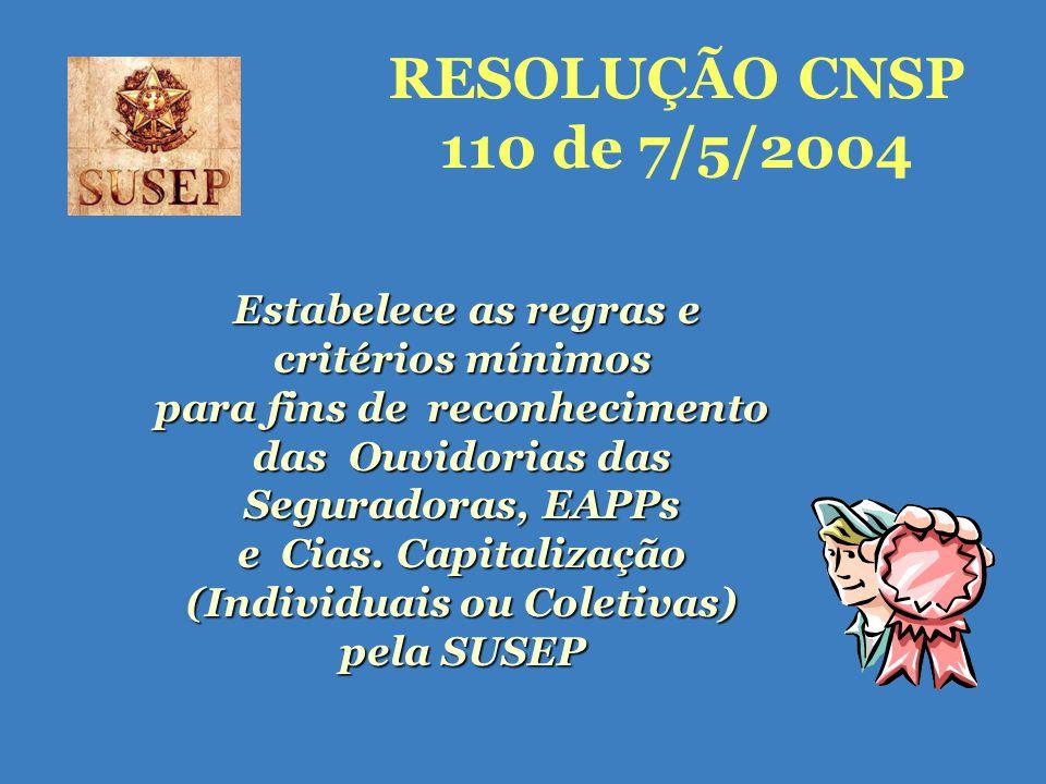 RESOLUÇÃO CNSP 110 de 7/5/2004 Estabelece as regras e critérios mínimos para fins de reconhecimento das Ouvidorias das Seguradoras, EAPPs e Cias.