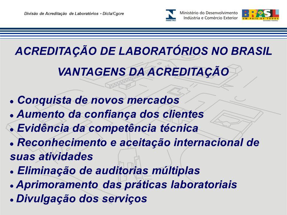 Divisão de Acreditação de Laboratórios - Dicla/Cgcre ACREDITAÇÃO DE LABORATÓRIOS NO BRASIL VANTAGENS DA ACREDITAÇÃO Conquista de novos mercados Aument