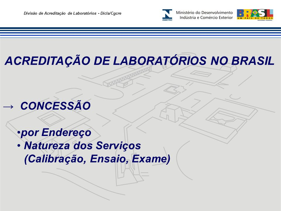 Divisão de Acreditação de Laboratórios - Dicla/Cgcre ACREDITAÇÃO DE LABORATÓRIOS NO BRASIL CONCESSÃO por Endereço Natureza dos Serviços (Calibração, E