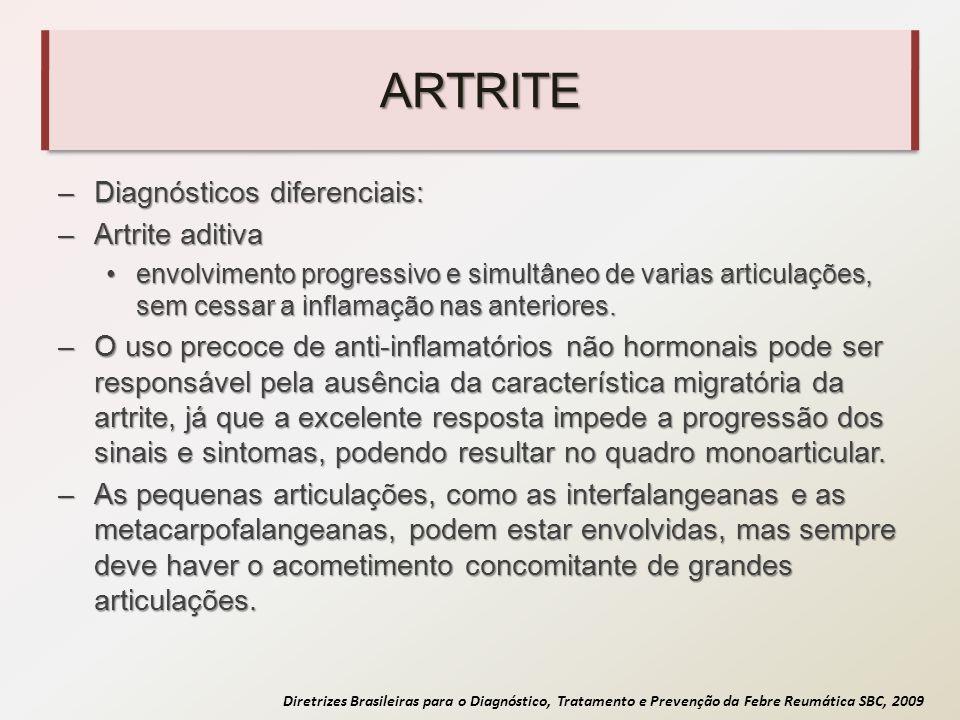 Diretrizes Brasileiras para o Diagnóstico, Tratamento e Prevenção da Febre Reumática SBC, 2009 ARTRITE –Diagnósticos diferenciais: –Artrite aditiva en