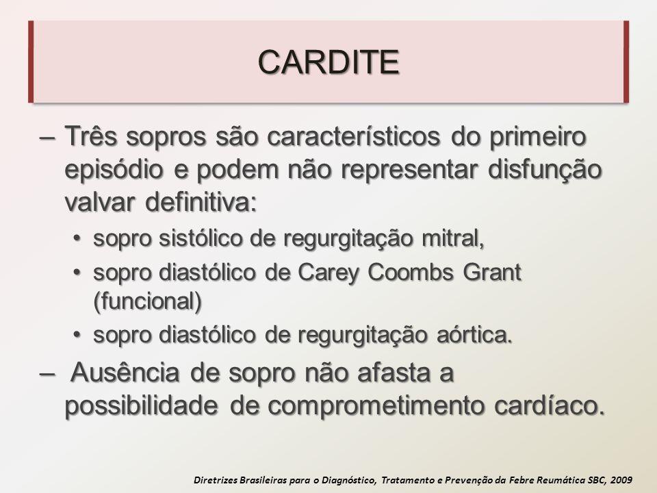 Diretrizes Brasileiras para o Diagnóstico, Tratamento e Prevenção da Febre Reumática SBC, 2009 CARDITE –Três sopros são característicos do primeiro ep