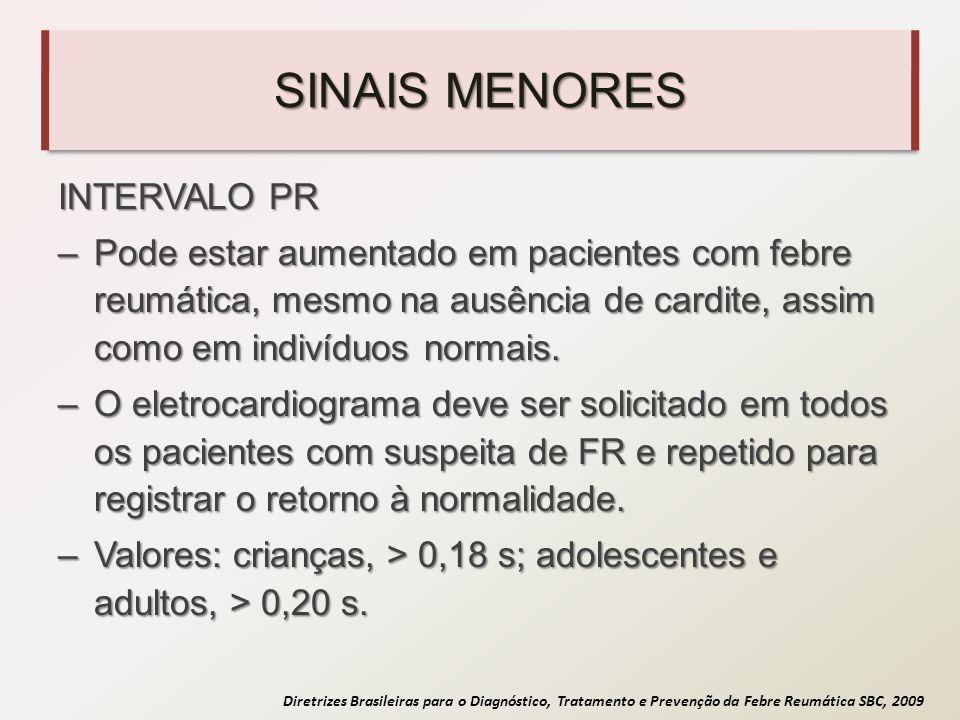 Diretrizes Brasileiras para o Diagnóstico, Tratamento e Prevenção da Febre Reumática SBC, 2009 SINAIS MENORES INTERVALO PR –Pode estar aumentado em pa