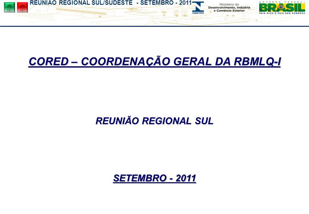 REUNIÃO REGIONAL SUL/SUDESTE - SETEMBRO - 2011 Omer Pohlmann Filho Coordenador Geral da RBMLQ-I ESPAÇO DQUAL