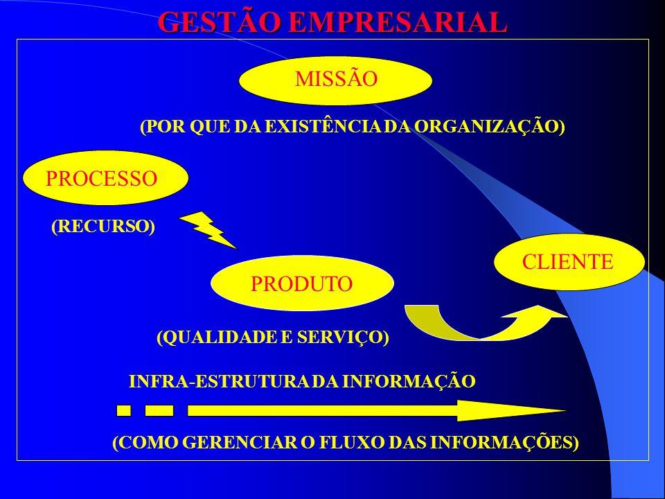 CLIENTE MISSÃO (POR QUE DA EXISTÊNCIA DA ORGANIZAÇÃO) PROCESSO (RECURSO) PRODUTO (QUALIDADE E SERVIÇO) (COMO GERENCIAR O FLUXO DAS INFORMAÇÕES) INFRA-