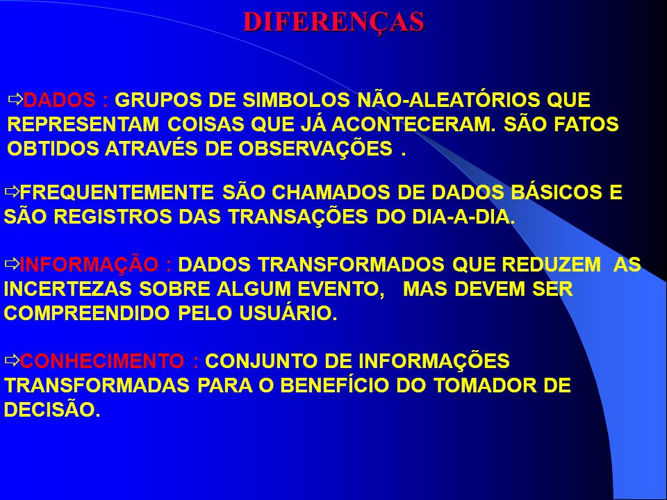 DIFERENÇAS DADOS : GRUPOS DE SIMBOLOS NÃO-ALEATÓRIOS QUE REPRESENTAM COISAS QUE JÁ ACONTECERAM. SÃO FATOS OBTIDOS ATRAVÉS DE OBSERVAÇÕES. FREQUENTEMEN
