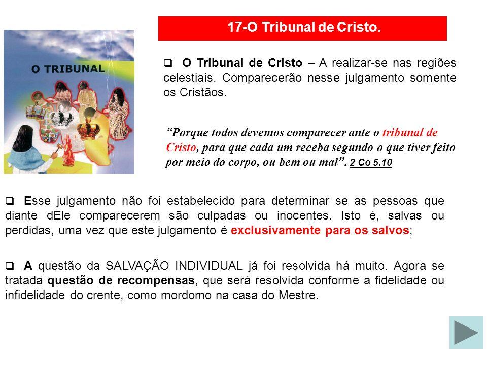 17-O Tribunal de Cristo. O Tribunal de Cristo Esse julgamento não foi estabelecido para determinar se as pessoas que diante dEle comparecerem são culp