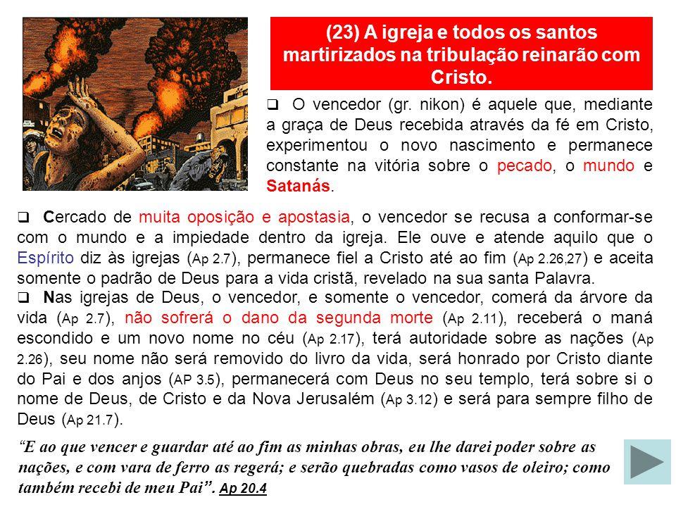 (23)Os santos da tribulação ressuscitarão dentre os mortos. Aqueles que se assentam nos tronos são provavelmente os vencedores oriundos de todos os te