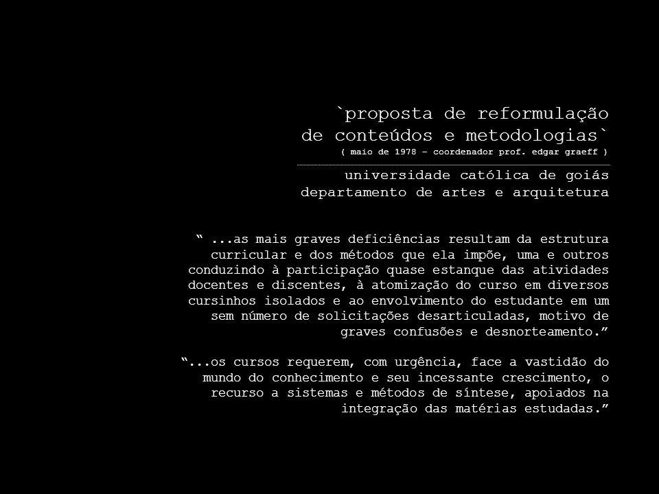 `proposta de reformulação de conteúdos e metodologias` ( maio de 1978 – coordenador prof.