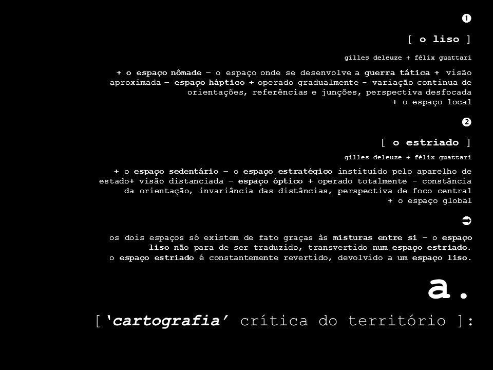 a. [cartografia crítica do território ]: [ o liso ] gilles deleuze + félix guattari + o espaço nômade – o espaço onde se desenvolve a guerra tática +