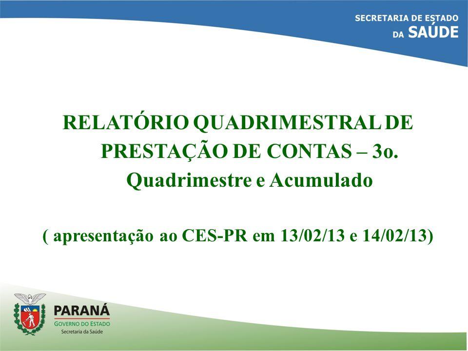 RELATÓRIO QUADRIMESTRAL DE PRESTAÇÃO DE CONTAS – 3o.