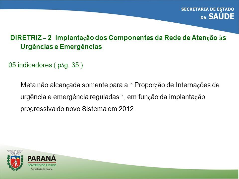 DIRETRIZ – 2 Implanta ç ão dos Componentes da Rede de Aten ç ão à s Urgências e Emergências 05 indicadores ( p á g.