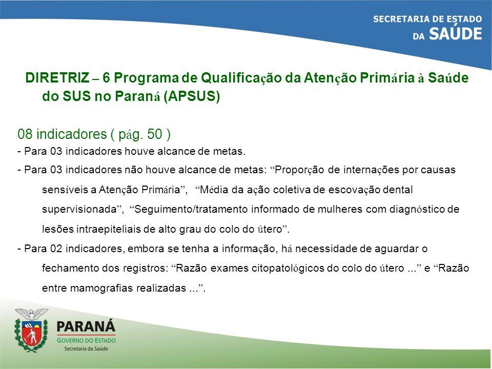 DIRETRIZ – 6 Programa de Qualifica ç ão da Aten ç ão Prim á ria à Sa ú de do SUS no Paran á (APSUS) 08 indicadores ( p á g.