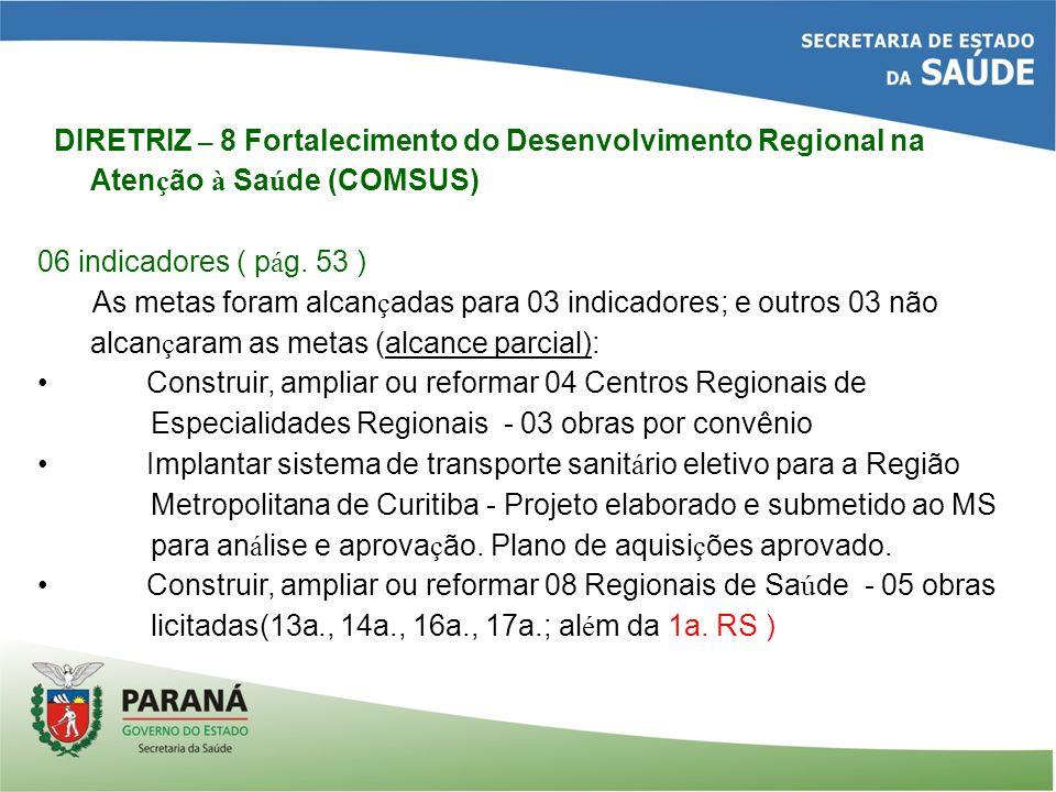 DIRETRIZ – 8 Fortalecimento do Desenvolvimento Regional na Aten ç ão à Sa ú de (COMSUS) 06 indicadores ( p á g.