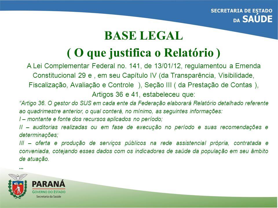 BASE LEGAL ( O que justifica o Relatório ) A Lei Complementar Federal no.