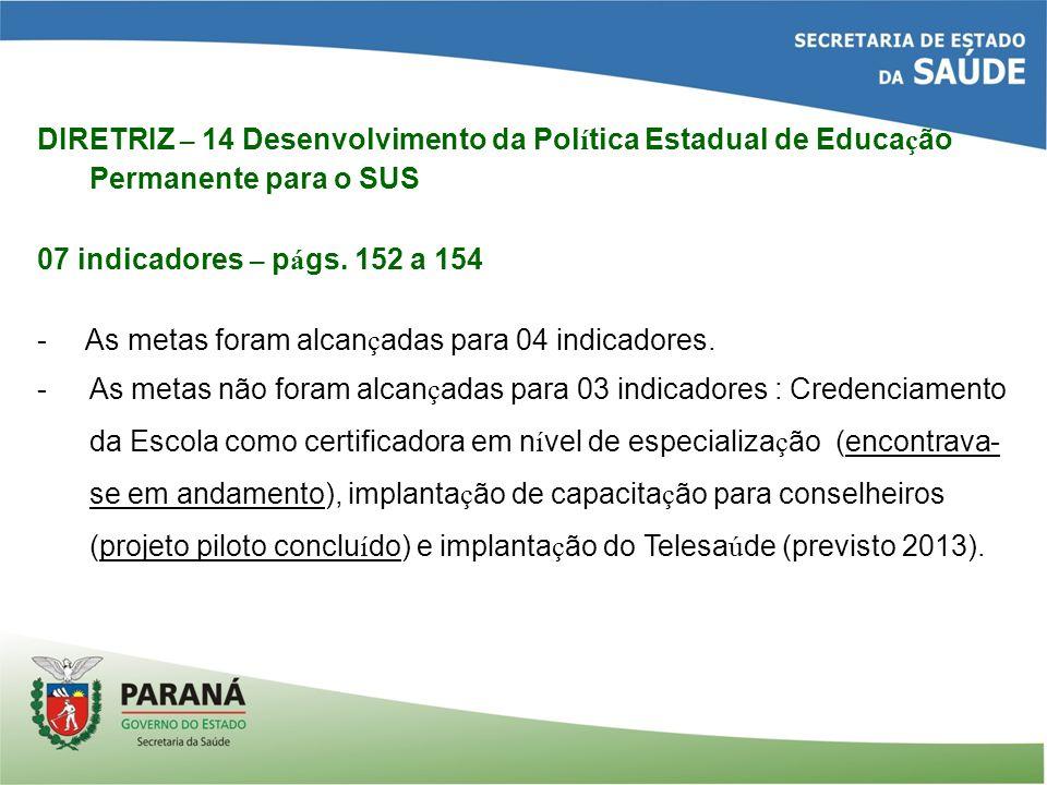 DIRETRIZ – 14 Desenvolvimento da Pol í tica Estadual de Educa ç ão Permanente para o SUS 07 indicadores – p á gs.