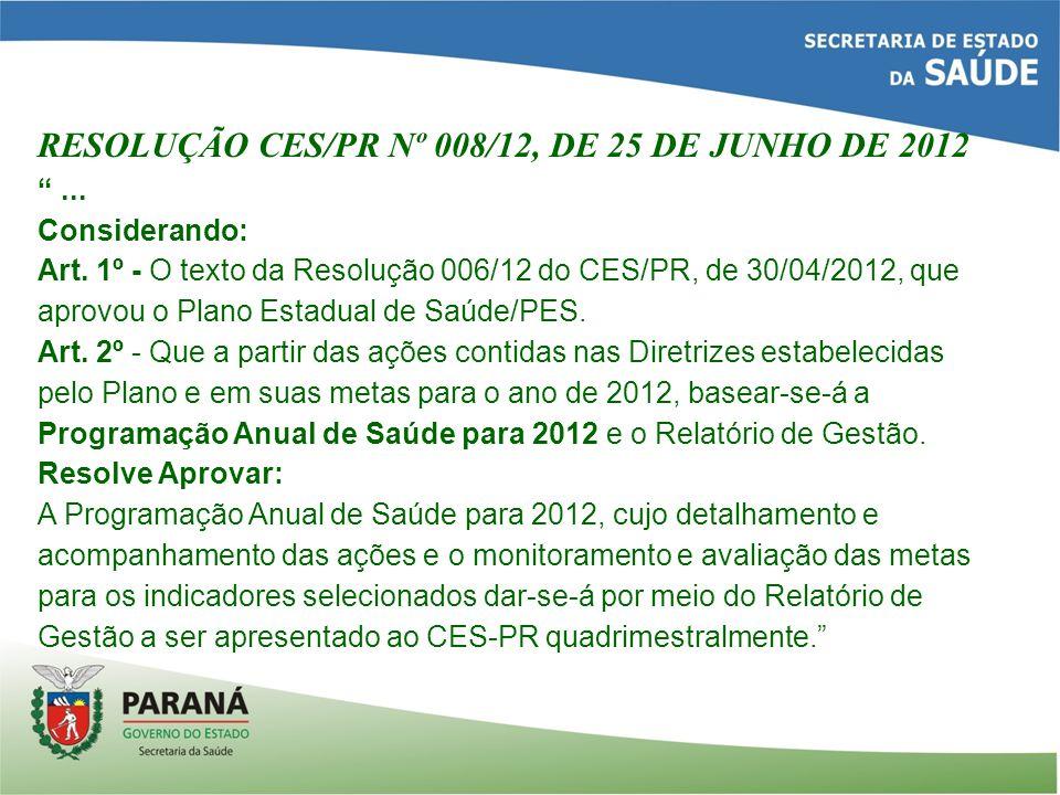RESOLUÇÃO CES/PR Nº 008/12, DE 25 DE JUNHO DE 2012...