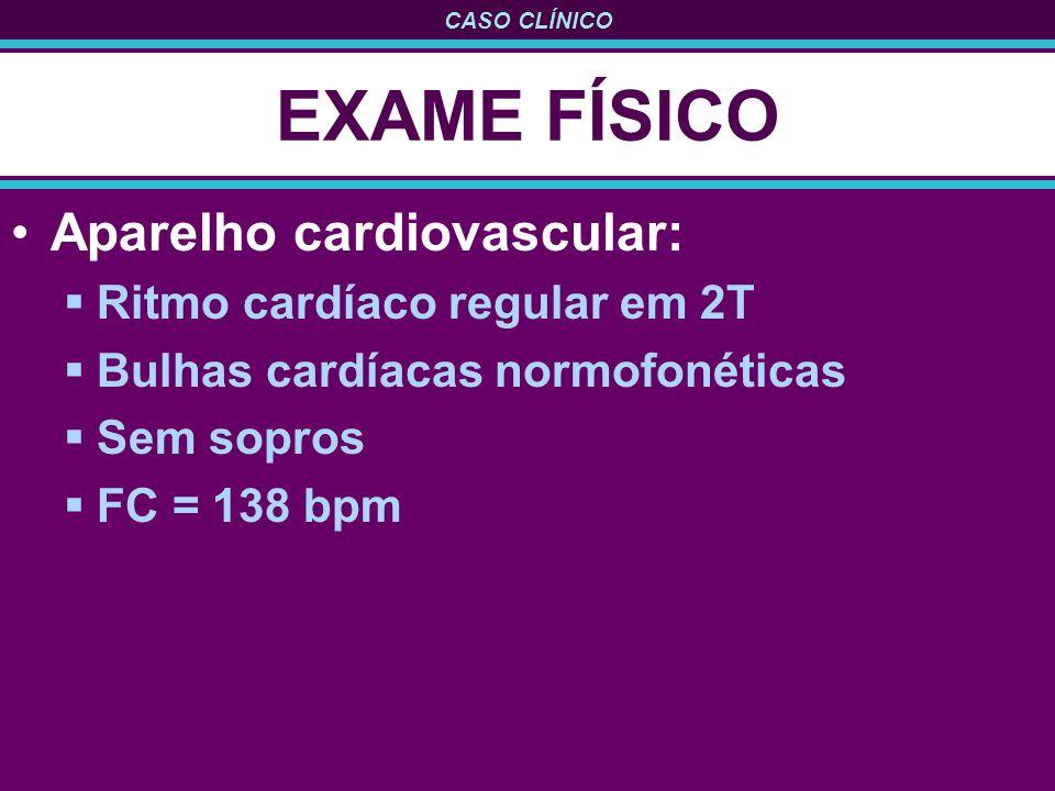 CASO CLÍNICO EXAME FÍSICO Aparelho cardiovascular: Ritmo cardíaco regular em 2T Bulhas cardíacas normofonéticas Sem sopros FC = 138 bpm