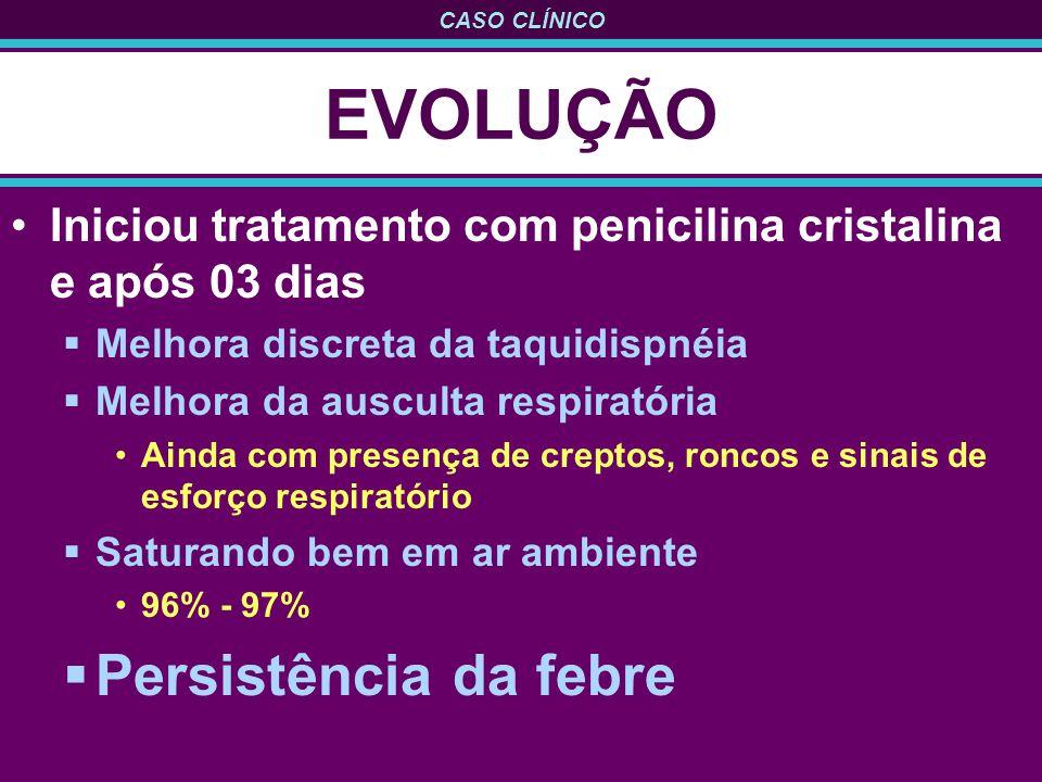 CASO CLÍNICO EVOLUÇÃO Iniciou tratamento com penicilina cristalina e após 03 dias Melhora discreta da taquidispnéia Melhora da ausculta respiratória A