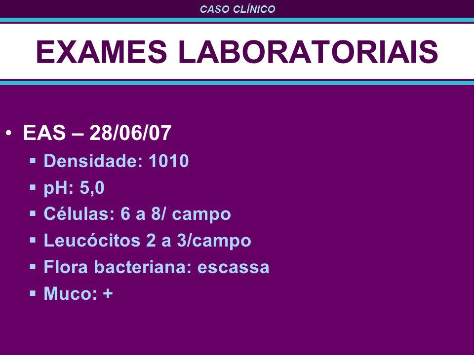 CASO CLÍNICO EXAMES LABORATORIAIS EAS – 28/06/07 Densidade: 1010 pH: 5,0 Células: 6 a 8/ campo Leucócitos 2 a 3/campo Flora bacteriana: escassa Muco:
