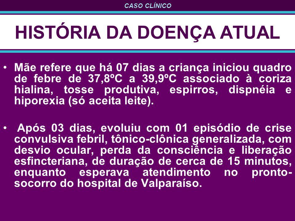 CASO CLÍNICO HISTÓRIA DA DOENÇA ATUAL Mãe refere que há 07 dias a criança iniciou quadro de febre de 37,8ºC a 39,9ºC associado à coriza hialina, tosse produtiva, espirros, dispnéia e hiporexia (só aceita leite).