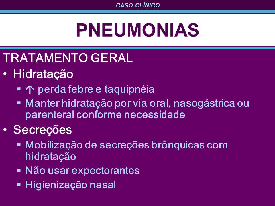 CASO CLÍNICO PNEUMONIAS TRATAMENTO GERAL Hidratação perda febre e taquipnéia Manter hidratação por via oral, nasogástrica ou parenteral conforme neces