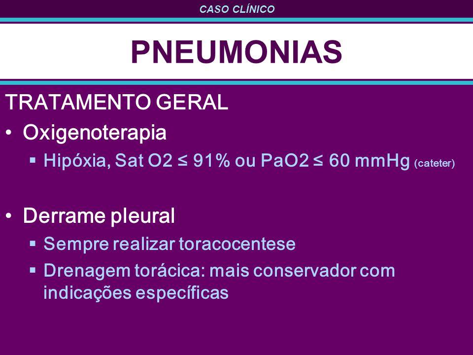 CASO CLÍNICO PNEUMONIAS TRATAMENTO GERAL Oxigenoterapia Hipóxia, Sat O2 91% ou PaO2 60 mmHg (cateter) Derrame pleural Sempre realizar toracocentese Dr